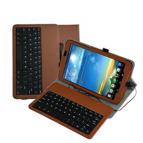 """Mama Mouth Rotary Stand PU Leather Case Cover With Removable Micro USB Keyboard for 8.3"""" LG G Pad 8.3 V500 V510/Verizon 4g LTE VK810 Android Tablet PC Brown"""