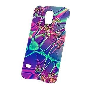 Case Fun Samsung Galaxy S5 (i9600) Case - Ultra Slim Version - Full Wrap Edge to Edge Print - Purple and Green Swirls