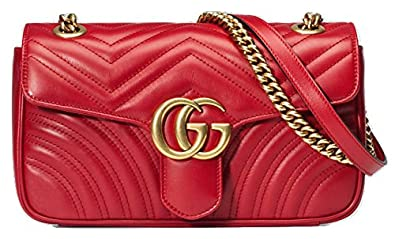 74d33f34f6faa9 Image Unavailable. Image not available for. Colour: New Gucci Red Marmont  Matelassé Shoulder Bag