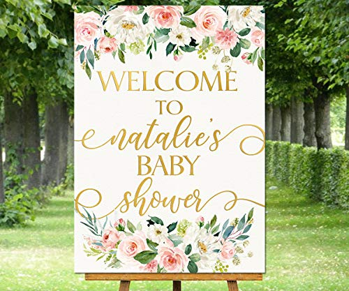 Dozili Floral Baby Shower Welcome Sign Pink White Roses Peonies Welcome Poster Hoho Personalized Print Custom Welcome to Baby Shower Girl Signs