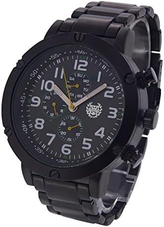 ShoppeWatch Mens Black Watch Multifunctional Metal Strap Big Face 50mm Business Work Dress Wait Reloj Negro para Hombre AQ202792G