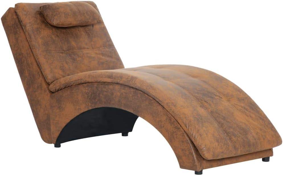 Nishore Diván Sofá Chaise Longue con Almohada de Piel de Ante Artificial Color Marrón Poliéster 100% 145 x 54 x 72 cm