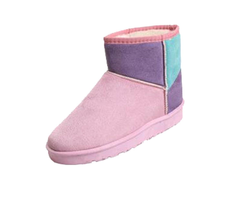 Mogu Women's Winter Short Snow Boots Spell Color Flat Warm Cotton Ankle Shoes