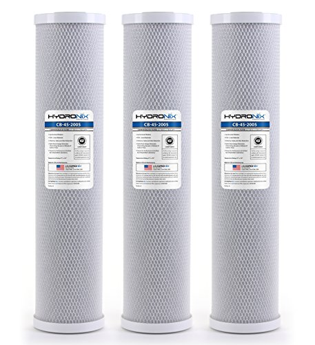 Hydronix HX-CB-45-2005/3 Whole House, Commercial and Industrial Coconut Carbon Block Water Filter, 4.5'' x 20'', 5 Micron, 3 Pack, White by Hydronix
