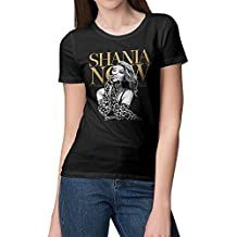 Women's Shania Twain Now Logo Particular Short Tshirts Girl Classic Shirts Black