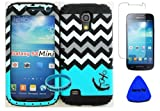 Wireless Fones Blue Block Chevron with Tiny Anchor Love Heart Faceplate Over Black Gel Hard & Soft Rubber Hybrid High Impact Armor Combo Case for Samsung Galaxy S4 Mini I9190 (Not for S4,s4 Active or S4 Zoom) With Screen Protector/Pry Tool/Wristband
