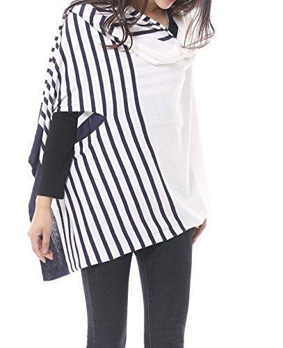 Bruceriver Women's Cotton Versatile Multi Style Long Knit Fashion Scarf (White with Navy - Knit Long Stripe Scarf