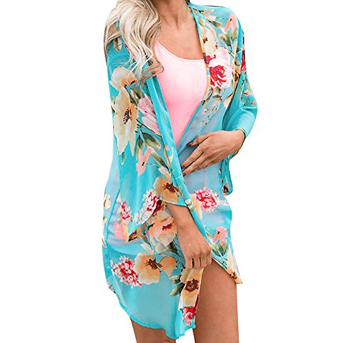 Cardigan Womens Tops Shawl Print Kimono Cover Up Blouse Beachwear Blue