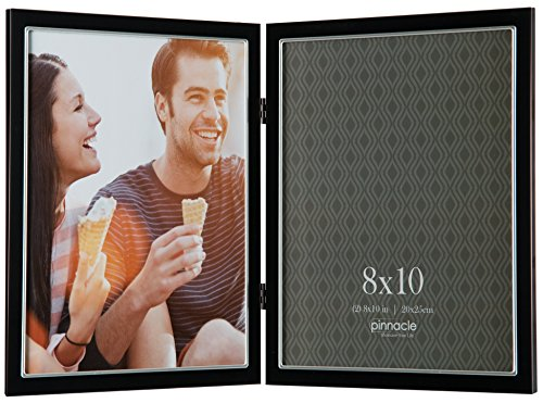 Pinnacle Metal 8x10 Double Black and Silver Hinged Picture Frame