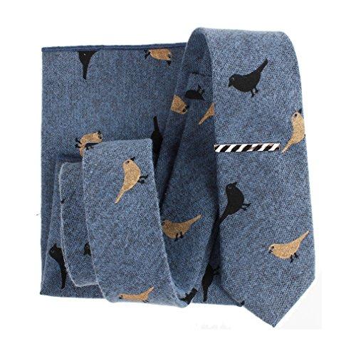 Levao Skinny Tie Men's Bird Pattern Ties Linen Cotton Neckties,Tie Clip, Pocket Square Gift Set 016 Blue