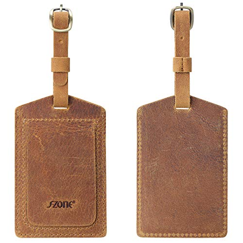 S-ZONE Leather Luggage Tags Baggage Tags ID Labels Fit for Suitcases Backpacks 2 Pieces Set