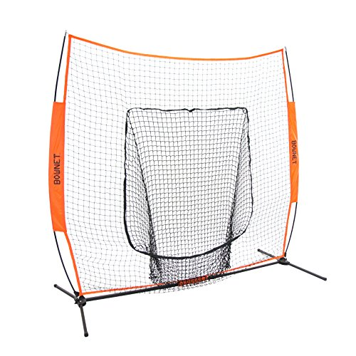 Bownet 7 x 7 Big Mouth – Next Generation and Most Used Portable Sock Net for Baseball and Softball Hitting and Pitching