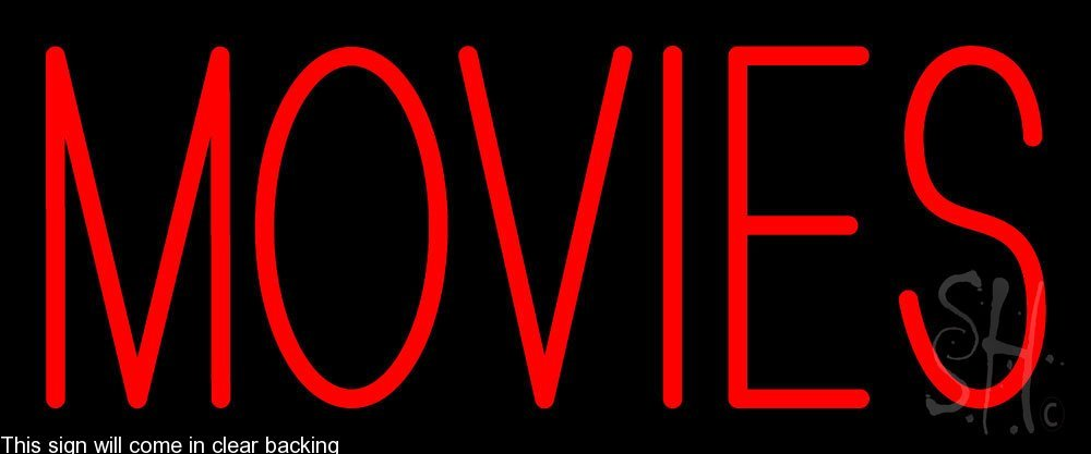 Movies Clear Backing Neon Sign 10'' Tall x 24'' Wide