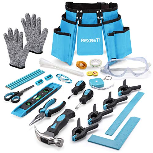 "REXBETI 87pcs Young Builder's Tool Set with Real Hand Tools, Reinforced Kids Tool Belt, Waist 20""-32"", Kids Learning Tool Kit for Home DIY and Woodworking"