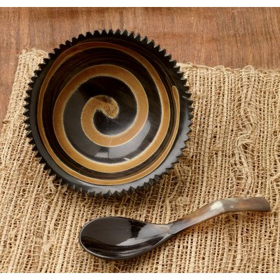 KINDWER Natural Horn Swirl Bowl with Horn Spoon (Horn Serving Spoon)
