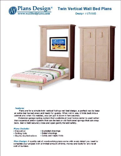 Economy Do-It-Yourself Murphy Twin Vertical Wall Bed Woodworking ...