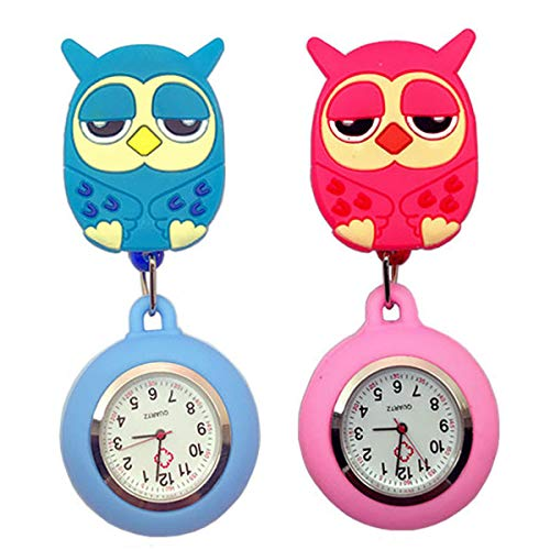 Cute Cartoon Owl Silicone Nurse Clip-on Fob Brooch Hanging Easy Pull Clasp Stretch Analog Quartz Pocket Watch for Girls and Kids Blue and - Watch Chain Lapel