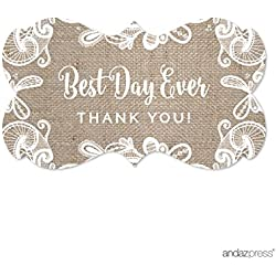 Andaz Press Burlap Lace Wedding Collection, Fancy Frame Label Stickers, Best Day Ever Thank You, 36-Pack