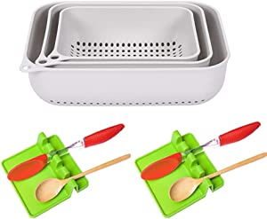 Set of 3 Strainers and Colanders Plastic, Kitchen Vegetable Food Strainer, Spaghetti Pasta Multifunction Kitchen Drain Basin and Basket, Dishwasher Safe (Gray)
