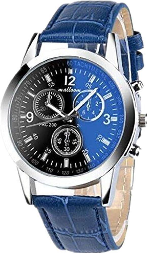 Toamen Moda Faux Leather Relojes De Cuarzo para Hombre