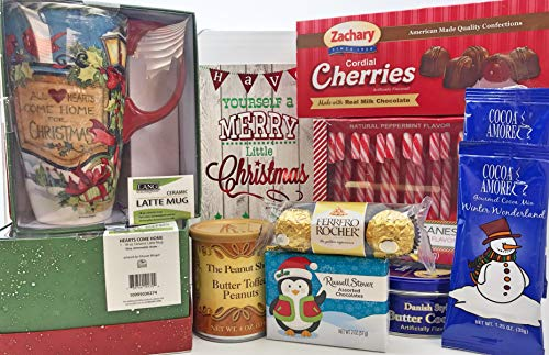 Holiday Favorites Christmas Gift Box Basket with Quality Lang Mug - Delicious Cookies Chocolate Candies Candy Canes Nuts & Hot Cocoa - For Men Women Children - Send Your Seasons - Tin Box Gum