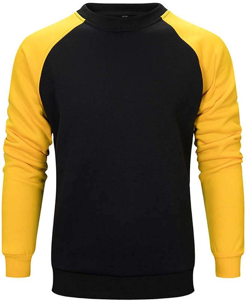 Bolayu Mens Solid Colorblock Pullover Sweatshirt Suit 2pcs Sport Gym Casual Light Warm Plain Crewneck Sweatshirt Suit