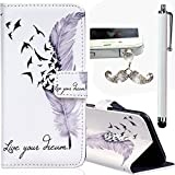 Samsung Galaxy S6 Edge Embossing Pattern Case, Bonice Magnetic Snap PU Leather Wallet Case [Free Metal Stylus Pen + Diamond Antidust Plug] Hybrid Silicone Rubber Gel Anti Scratch Shockproof Protective Bumper-Feather and Birds