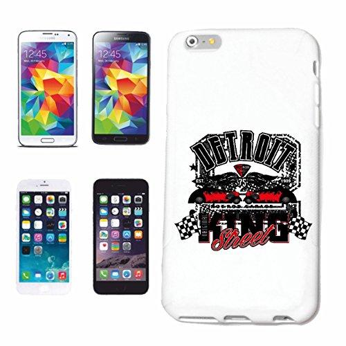 """cas de téléphone iPhone 7S """"DETROIT HOT ROD STREET KING GARAGE HOT ROD CAR US Mucle CAR V8 ROUTE 66 USA AMÉRIQUE"""" Hard Case Cover Téléphone Covers Smart Cover pour Apple iPhone en blanc"""