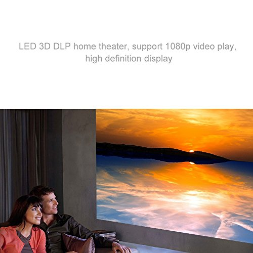 WOWOTO Mini WIFI Projector,3D DLP Home Theater,HD 1080P Video Entertainment Cinema System,Support Multiple Interface AV/USB/HDMI/SD for DVD Player PC Laptop Office Projector(White) Special Offers