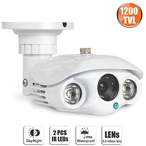 SW SWINWAY HD 1200TVL Bullet Security Camera Cmos CCTV Home Surveillance Weatherproof with IR Cut 100ft IR Night Vision Distance Outdoor Indoor Use