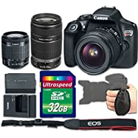 Canon T6 DSLR Camera Body With 18-55mm f/3.5-5.6 IS II Lens + 55-250mm f/4-5.6 IS II Lens Kit Bundle - International Version (No Warranty)