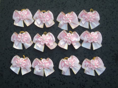 30 Dog Hair Bows – 3 Layers Pink Collection – Excellent for Girl Doggies!!!-Handmade for Grooming, My Pet Supplies