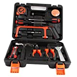 MagiDeal 13 Pieces Household Car Home Repair Hand Tools Hardware Kit with Plastic Case Screwdriver Saw Pliers Wrench for Car Repairing