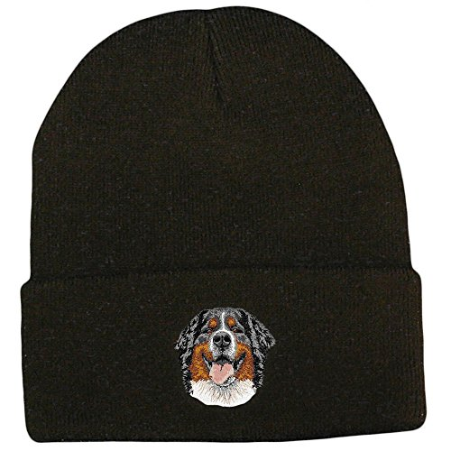 Cherrybrook Dog Breed Embroidered UltraClub Classic Knit Beanies - Black - Bernese Mountain Dog