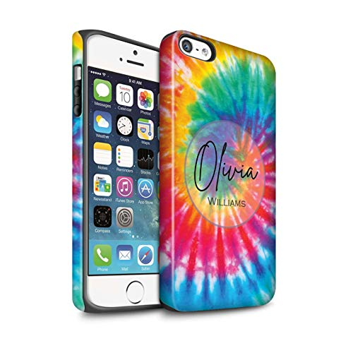 Personalized Custom Fabric Tie-Dye Patterns Matte Case for Apple iPhone 5/5S / Rainbow Eclipse Swirl Design/Initial/Name/Text Shockproof DIY Cover (Eclipse Bumper Case For Apple Iphone 5 5s)