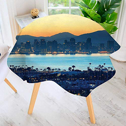 - aolankaili Spring & Summber Tablecloth-San Diego at Sunrise in Harbor Waterfront Busines for Outdoor or Indoor Use, BBQs 63