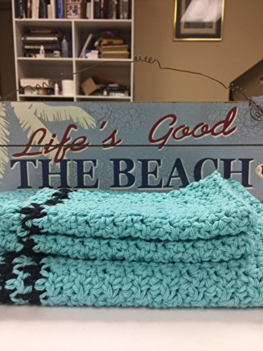 Handmade Crochet Cotton Towel and 2 Washcloths
