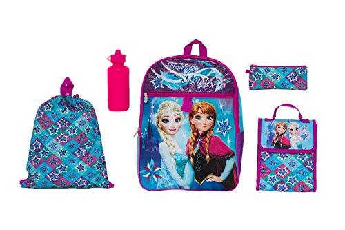 Disney Girls' Frozen 5 Pc Set Backpack, Purple, One Size