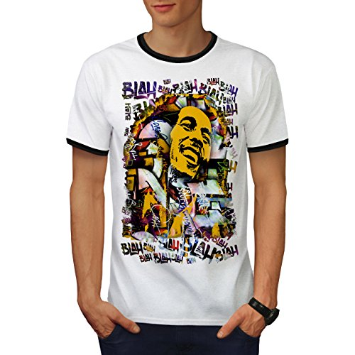 wellcoda 420 Graffiti Mens Ringer T-Shirt, Rasta Art Graphic Print Tee White/Black L ()