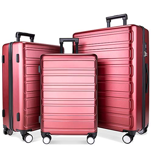 3 Piece Hardshell - Luggage Sets, SHOWKOO 3 Piece Polycarbonate Durable Hardshell & Lightweight Suitcase Double Wheels TSA Lock City Fashion Red Wine 20in24in28in