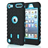 iPod Touch 5 6 Case, GreenElec Hybrid Dual Layer Shockproof High Impact Hard Plastic+Soft Silicon Rubber Armor Defender Case Cover for Apple iPod Touch 6th Gen 5th Gen (Light Blue)