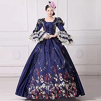15acf44bdb9b4 Amazon.co.jp:  ノーブランド品 ネイビードレス オペラ声楽 中世貴族 ...