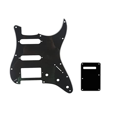 Musiclily 11 Hole HSS Strat Guitar Pickguard & Back Plate Set for Fender  USA/Mexican Standard Stratocaster Modern Style, 3Ply Black