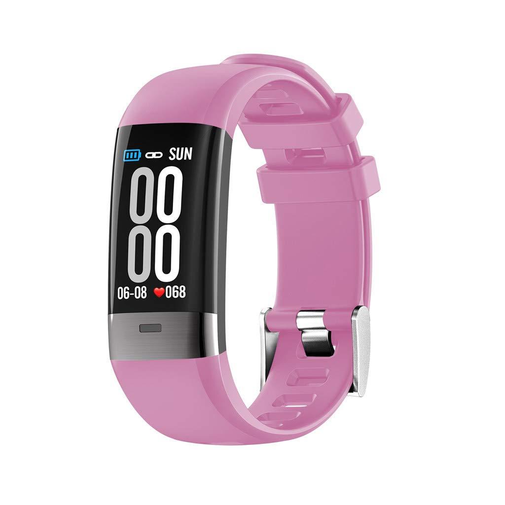Hot Sale! NDGDA, Touch Screen Smart Watch Sports Belt Bracelet Call Pedometer Heart Rate (Pink)