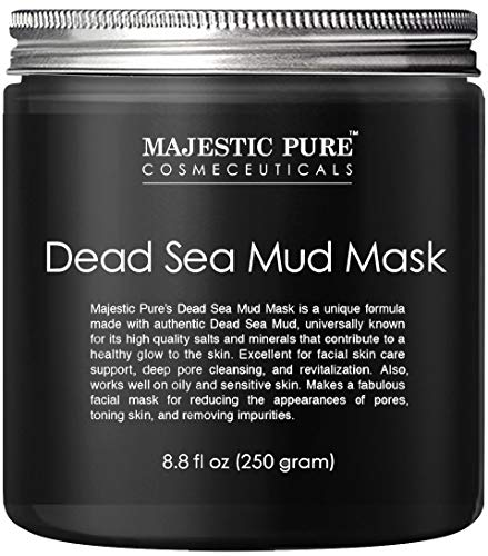 Majestic Pure Dead Sea Mud Mask for Face and Body - Gentle Facial Mask and Pore Minimizer for Men and Women - 8.8 fl. Oz (Best Mud Mask For Dry Skin)