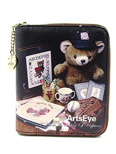 Price comparison product image ArtsEye Genuine Leather Short Zip Around Wallet Purse (Brown Bear)