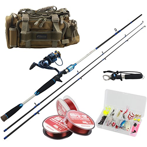 Himenlens Fishing Spinning Reel and Rod Combos 6FT Baitcasting Rod&Reel&Line&Lure&Grip&Bag Combos Full Kit PR-01