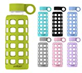 purifyou Premium Glass Water Bottle with Silicone Sleeve & Stainless Steel Lid Insert, 12 oz, Pastel Green