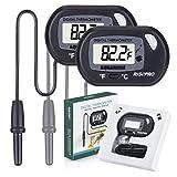 Aquarium Thermometer, RISEPRO 2 pack Digital Water Thermometer For Fish Tank Aquarium Marine Temperature Vivarium Reptile Terrarium