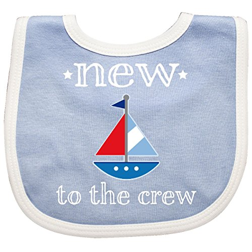 Inktastic - Baby Boy New To The Crew Sailboat Baby Bib Blue/White